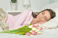 Young woman with bouquet Stock Photography