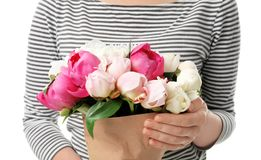 Young woman with bouquet of beautiful peony flowers. On white background, closeup Royalty Free Stock Photography