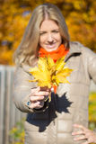 Young woman with bouquet of maple leaves. In hand stock photos