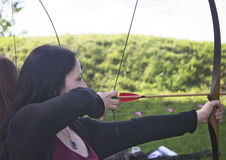 Young woman with bow stock image
