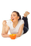 Young woman with bowl of fruit salad Royalty Free Stock Photography