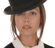 Young woman with Bowler hat Royalty Free Stock Images