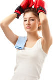 Young woman boxer Royalty Free Stock Image