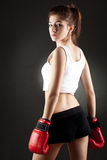 Young woman boxer Stock Images