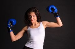 Young woman boxer. Royalty Free Stock Images