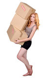 Young woman with boxes. Portrait of a young woman with boxes Royalty Free Stock Image