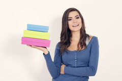 Young woman with boxes Stock Photo