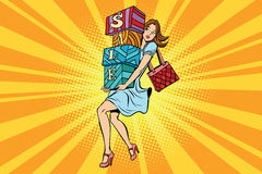 Young woman with boxes sale, buyer and shopping Royalty Free Stock Image