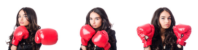 The young woman with boxing glove Stock Images