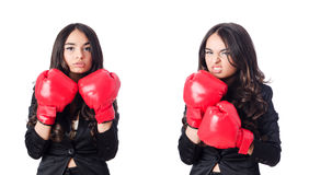 The young woman with boxing glove Royalty Free Stock Image