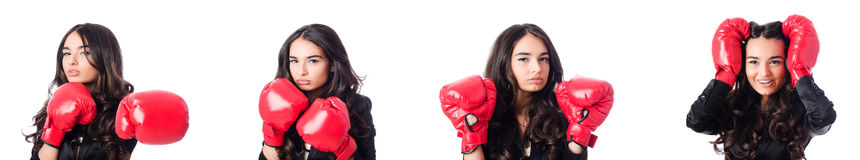 The young woman with boxing glove Stock Photo