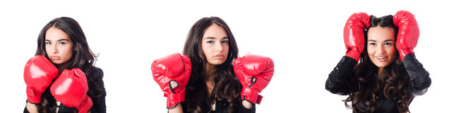 The young woman with boxing glove royalty free stock photos