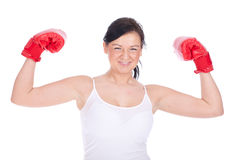 Young woman in boxing gloves Stock Photos