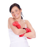 Young woman in boxing gloves Royalty Free Stock Images