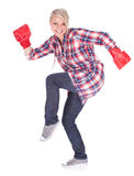 Young woman in boxing gloves Stock Image