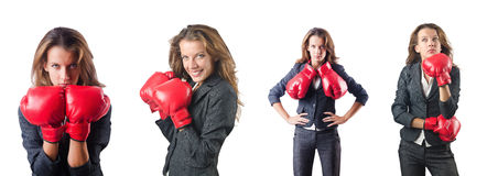 The young woman with boxing gloves isolated on white Stock Images