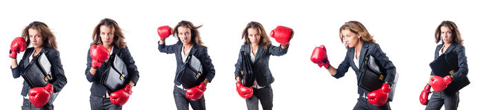 The young woman with boxing gloves isolated on white Royalty Free Stock Photography