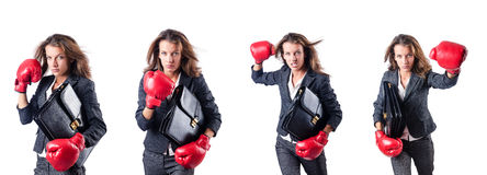 The young woman with boxing gloves isolated on white Royalty Free Stock Photo