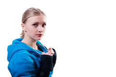Young woman in boxing gloves Royalty Free Stock Photo