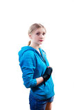 Young woman in boxing gloves Stock Images
