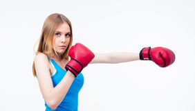 Young woman in boxing gloves Royalty Free Stock Image