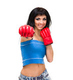 Young woman with boxing gloves at workout Royalty Free Stock Images