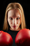 Young woman at boxing training Stock Photo