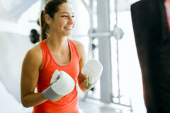 Young woman boxing and training Royalty Free Stock Image