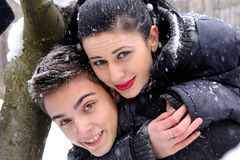 Young woman and boy having fun Stock Image