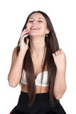 Young woman in bra speaking by phone Royalty Free Stock Photography
