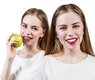 Young woman with brackets on teeth eating apple Stock Photography