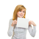 Young woman with brackets and white billboard Stock Photo