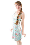 Young woman with braid in beautiful dress Stock Image