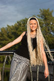 Young woman with braided locks Royalty Free Stock Image