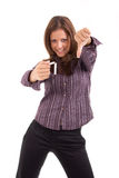 Young woman breaking cigarette stock photo