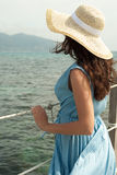 Young woman on bridge. Summer time. Royalty Free Stock Photo