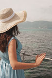 Young woman on bridge. Summer time. Royalty Free Stock Images