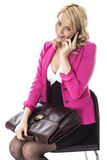 Young Woman With a Briefcase Using Mobile Cell Phone Stock Photography
