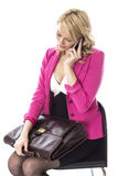 Young Woman With a Briefcase Using Mobile Cell phone Stock Photos