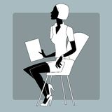 Young woman at a briefing paper sheet. Briefing at the office or at a conference. Young woman with sheets of paper sitting on a chair vector illustration