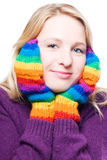 Young woman in a bright colorful gloves Royalty Free Stock Images