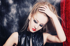 Young woman with bright gothic makeup Royalty Free Stock Images