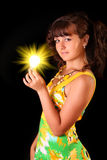 Young woman with bright lamp tube Royalty Free Stock Images