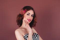 Young woman with bright makeup closeup. Studio shot Stock Image