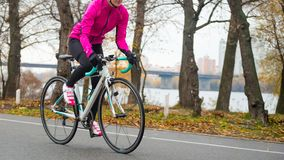 Young Woman in Pink Jacket Riding Road Bicycle in the Park in the Cold Autumn Day. Healthy Lifestyle. stock image