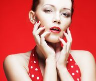 Young woman with bright red lips Stock Image