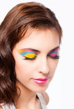 Young woman with bright stylish make-up. Stock Images