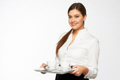 Young woman brings coffee Royalty Free Stock Photo