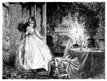 Young woman brings sleeping little girl to bed, after Christmas party. Christmas Eve, young mother carries sleeping little daughter to bed, leaving the parlor Royalty Free Stock Images