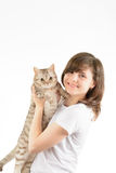 Young woman and a British cat Royalty Free Stock Image